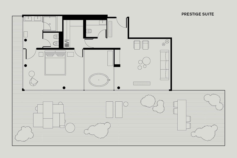 Roomers Baden-Baden Floorplan Prestige Suite